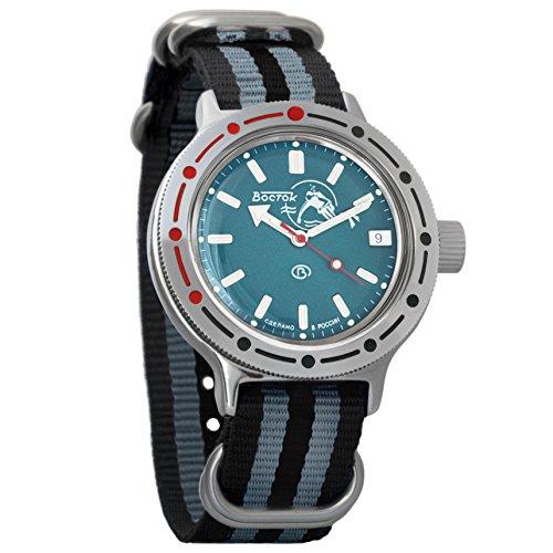 Vostok Amphibian Automatic Mens Wristwatch Self-Winding Military Diver Amphibia Case Wrist Watch #420059 (Black+Grey)