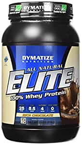 Dymatize All Natural Elite 100% Whey Protein, Rich Chocolate, 2 lbs