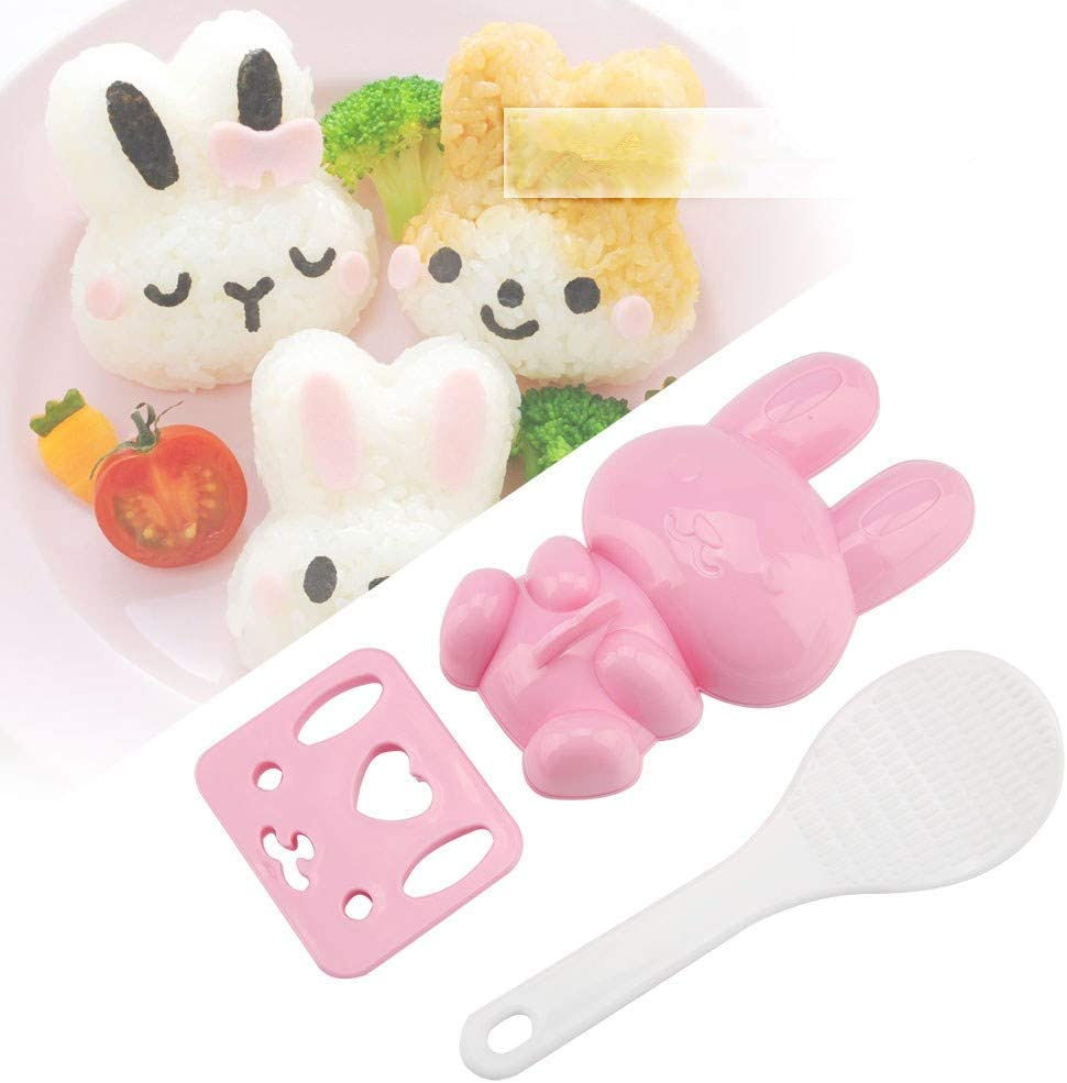 Sushi Mold, Rabbit Model,Sushi Rice Mold Food-grade PP Cartoon Pattern Sushi Mold Rice Ball Mold for Baby Kids Meal Hiking Egg Sushi Rice Mold Mould Decorating Fondant Cake Tool Cookery molds Pink