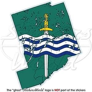 """Peterborough map-flag Ontario Canadá Canadiense 4Bumper adhesivo, adhesivo de vinilo """"(100mm)"""