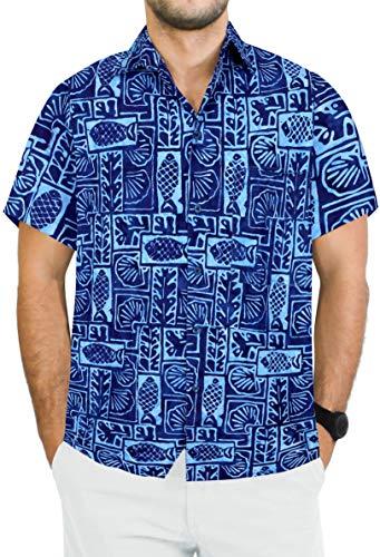 LA LEELA Mens Regular Fit Hawaiian Shirt Swim Short Sleeves Loose Fit Printed C