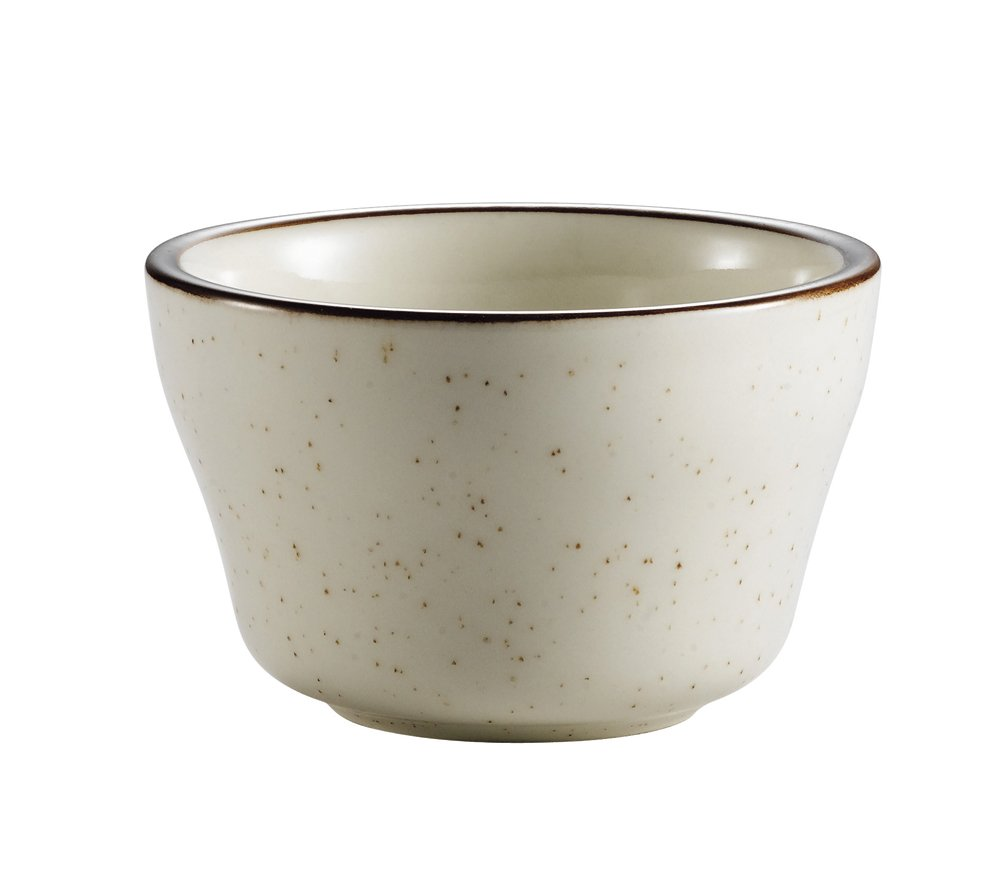 CAC China AZ-4 Arizona 4-Inch Brown Rim Brown Speckled American White Stoneware Bouillon, 7.25-Ounce, Box of 36