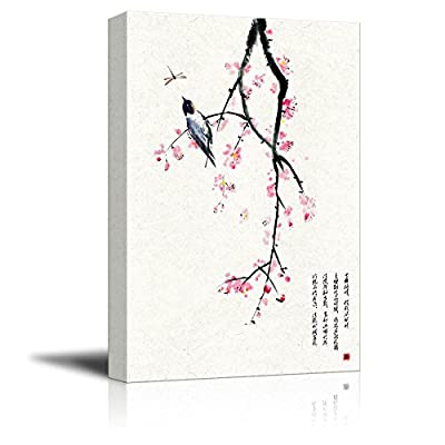 Delightful Work of Art, Chinese Ink Painting Style Red Blooming Flowers and Bird, Made For You