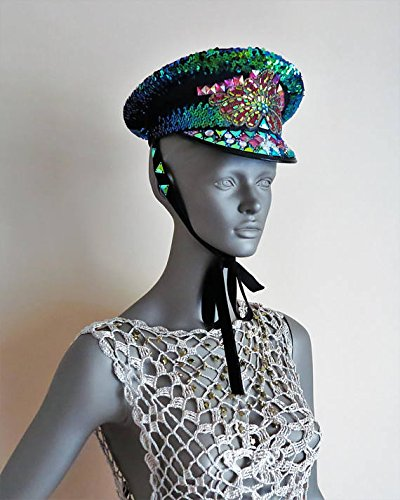 Burning Man Hat, Marching Band hat, Captain's Hat, Festival Hat, Party headdress, Burner Playa Cap, Raver headpiece, Military jeweled hat