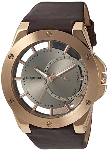 Kenneth Cole New York Men's 'Transparency' Quartz Stainless Steel and Leather Dress Watch, Color:Brown (Model: 10030786)