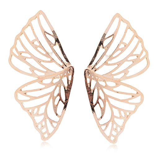 (Lanyan Plating Gold Open Half Butterfly Wing Dangle Hook Earrings)
