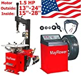 Mayflower - 1.5 HP Tire Changer Wheel Changers Balancer Machine Combo 980 800 Red Edition / 1 Year Full Warranty