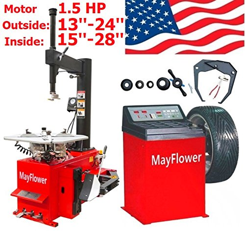 Mayflower - 1.5 HP Tire Changer Wheel Changers Balancer Machine Combo 980 800 Red Edition / 1 Year Full Warranty (Best Tire Balancing Machine)