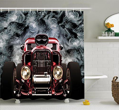 Ambesonne Classic Old Cars Decor Collection, Vintage American Hot Rod Roadster with Smoke Background Race Art Pictures, Polyester Fabric Bathroom Shower Curtain Set with Hooks, Black Red Hot Rod Car