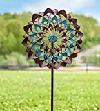 Plow & Hearth Copper and Blue Zinnia Wind Spinner