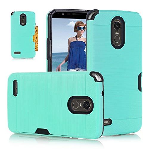 Stylus LG Stylo 3 Case Card Holder, LG LS777 Case, LG L84VL Case,2 in 1 Hard PC TPU Shockproof Armor Defender Phone Case LG Stylo 3 Cover Case for LG Stylo 3 Plus/KC2/MP450/M430/LG L83BL/LG TP450-Teal (Case Skin 3g)