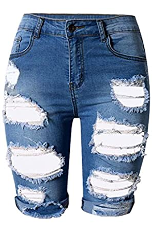 Dokotoo Womens Casual Denim Destroyed Bermuda Shorts Jeans at ...