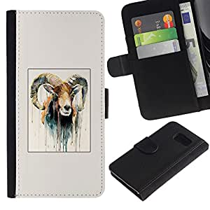 All Phone Most Case / Oferta Especial Cáscara Funda de cuero Monedero Cubierta de proteccion Caso / Wallet Case for Sony Xperia Z3 Compact // Goat Painting Horns Ram Art