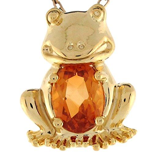 Citrine Frog - Jewelry Liquidation 14k Yellow Gold Citrine Cute Fun Frog 1.47cm Slide Charm Pendant
