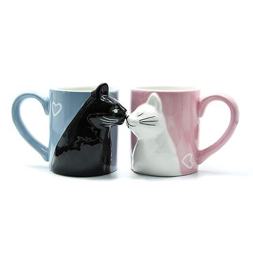 Lindo gato Café con leche Té Tazas de cerámica Copa de la mañana ...