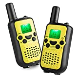 Camkiy Twin Walkie Talkies Radios 22 Channel UHF462-467MHz 2 Way Radio 3KM Range Interphone Yellow