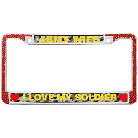 Amazoncom Gnd Red Bling License Plate Framei Love My Soldier