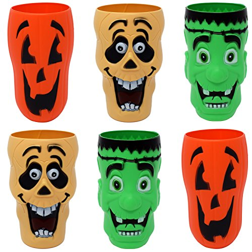 Gift Boutique 20 Oz. Halloween Cups Plastic Character 3-D Set of 6 Trick or Treat Party Favor Supplies Decor Accessories Pumpkin Jack O Lanterns Frankenstein and Ghost Design]()
