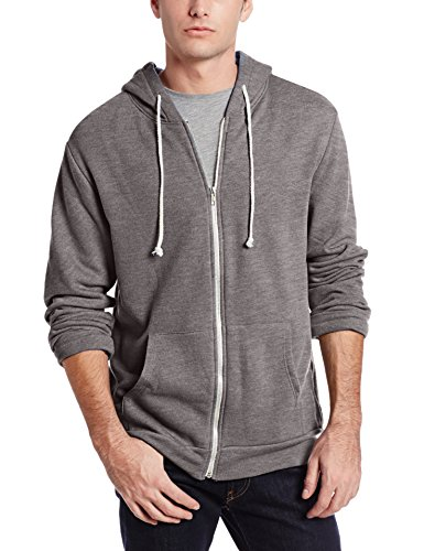 Threads 4 Thought Men's Triblend Front Zip Hoodie, Stone Grey, X-Large