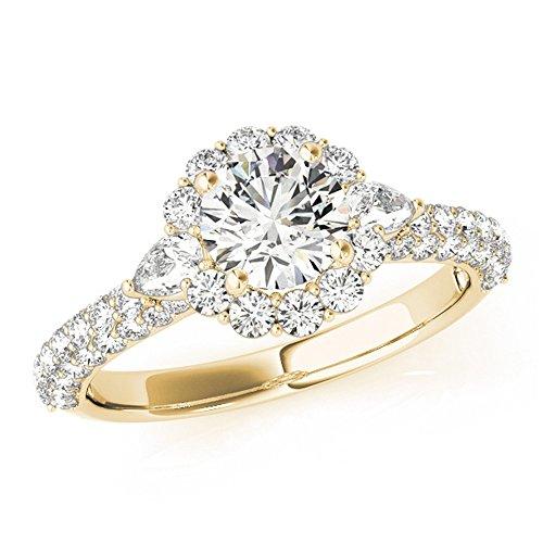 - Three Stone Halo Anniversary Engagement Ring 14k Yellow Gold 1 3/4ct TDW