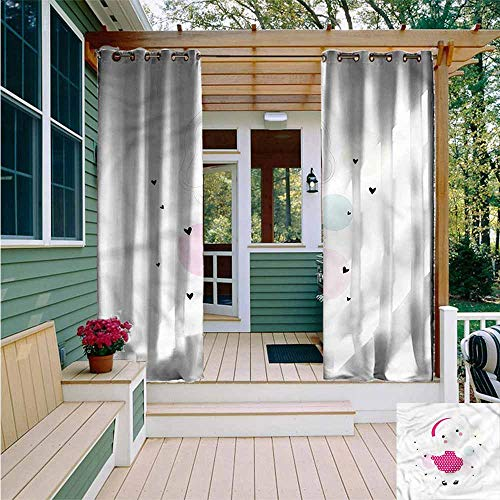 Beihai1Sun Curtains for Living Room,Cute Girl in a Dotted Pink Dress,for Patio/Front Porch,W84x84L