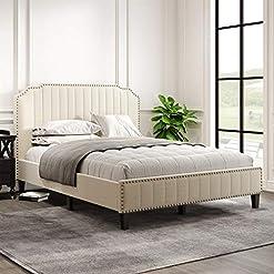 Bedroom Pumpumly Modern Linen Curved Upholstered Platform Bed,Solid Wood Frame,Nailhead Trim (Queen) modern beds and bed frames