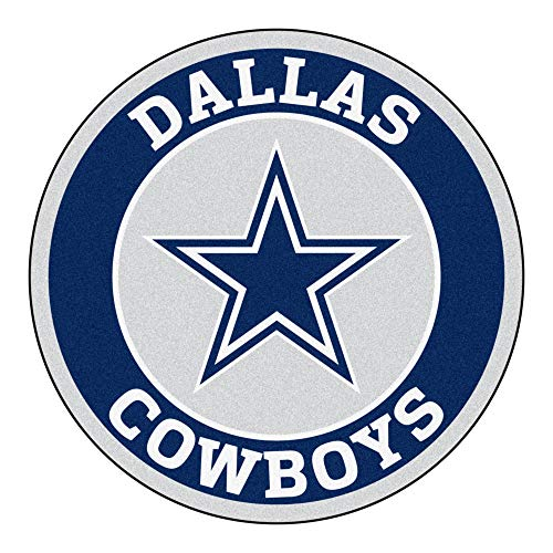 (27-Inch NFL Dallas Cowboys Mat Team Logo Printed Round Rug Sports Football Themed Floor Mats Carpet Home Office Bedroom Bath Area Rug Team Spirit Fan Gift Non-Skid Vinyl Backing, Soft Nylon)