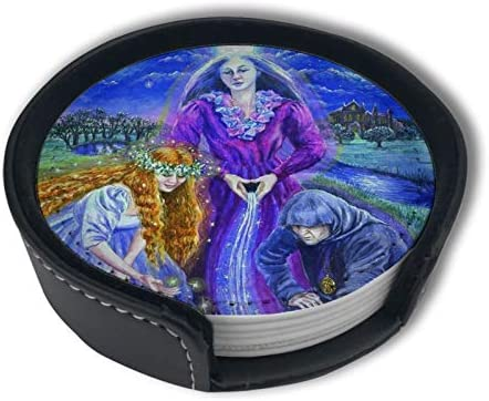 Triple Moon Goddess Wicca Wiccan Home Decor Mark Cup Mat Pu Leather Set Of 6 Dining Table Decorations Round Coasters Gift Ornament Beer Mats Car Coasters