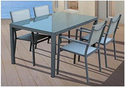 VDC Conjunto Silver Mesa Rectangular con 4 sillas: Amazon.es: Jardín