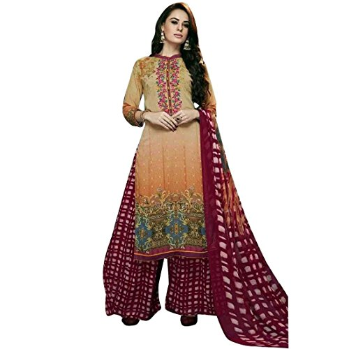 Designer Palazzo Pants Partywear Georgette Embroiderd Salwar Kameez – 0X Plus, Beige