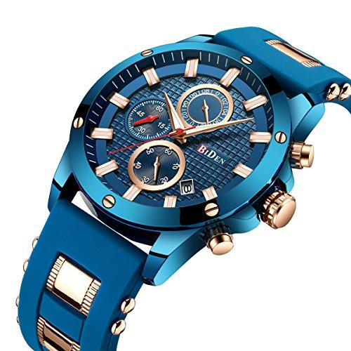 Men's Watch Fashion Waterproof Quartz Analog Digital Leather Six Pointer Multifunction Blue by FIZILI