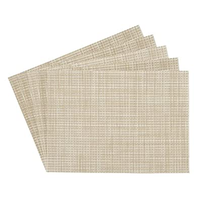Benson Mills Longport Crossweave Woven Vinyl Placemat, Beige, Set of 4 - RESTAURANT QUALITY!  These are perfect for any occasion.  VERY EASY TO CLEAN! Made of 100% Vinyl FUN COLORFUL OPTIONS FOR YOUR CONVENIENCE. - placemats, kitchen-dining-room-table-linens, kitchen-dining-room - 51VjoR0Rp1L. SS400  -