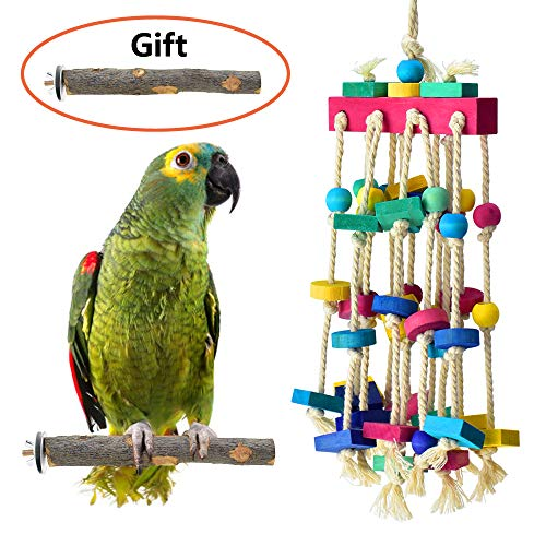 KATUMO Bird Chewing Toy with Bird Perch Nature Wood Stand, Parrot Cage Bite Toys Multicolored Wooden Blocks Bird Parrot…