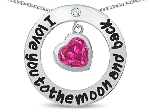 Star K I Love You To the Moon and Back Created Pink Sapphire 8mm Heart Circle Pendant (Sapphire Heart Circle Pendant)