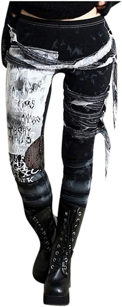 DONTAL Women Punk Gothic Lady Side Lace Up Leggings Skinny Cargo Pans Leggings Trousers