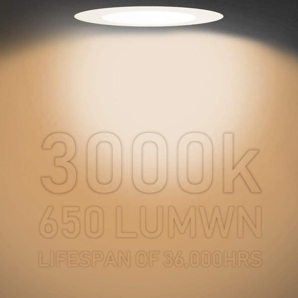 650 Lumens Dimmable Downlights 4 Inch 10W Ultra Thin LED Recessed Lights Daylight White Complete Recessed Lighting Kits with Junction Box 5000K 4-Pack