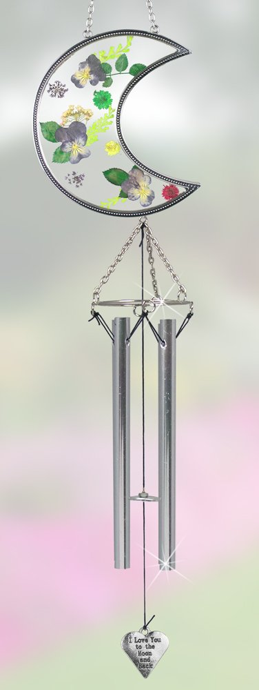 I Love You to the Moon and Back Suncatcher Windchime with Real Pressed Flowers - Gifts for Mom - Metal & Glass - 20 Inch High