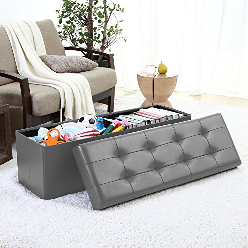 Ellington Home Foldable Tufted Faux Leather Large Storage Ottoman Bench Foot Rest Stool/Seat - 15