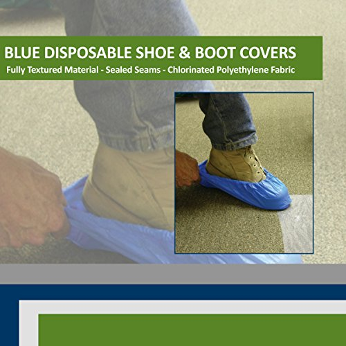 Blue CPE (.55 MM) Shoe & Boot Cover Booties, Water Proof CPE Material, Indoor & outdoor shoe or boot protection, Non Slip disposable (Size 2X 300 Pack) by Sara Glove (Image #2)