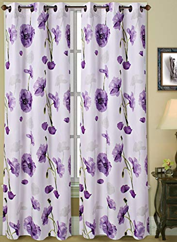 "2 Grommet Curtain Panels 74"" W x 84"" L, Decorative Floral Design Print, Light Filtering Room Darking Thermal Foam Back Lined Curtain Panels for Living/Bedroom Room and Patio Door- Multicolor Purple"