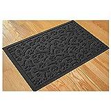 Bungalow Flooring Paws & Bones Charcoal Dog Mat, 28' L x 18' W, Small, Gray