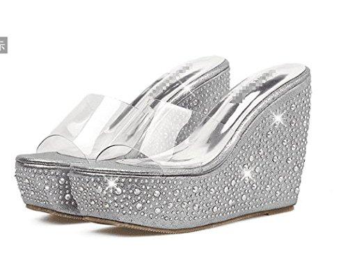 SCLOTHS Verano Chanclas para Mujeres Pendiente Impermeable Diamante Artificial Inferior Grueso Transparente Silver