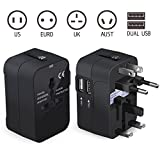 LIANSING Universal All in One Worldwide Travel Adapter Wall Charger AC Power with Dual USB Charging Ports for USA EU UK AUS