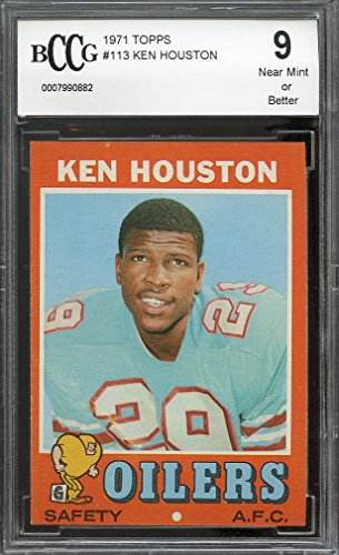1971 topps #113 KEN HOUSTON houston oilers rookie card BGS BCCG 9 Graded Card
