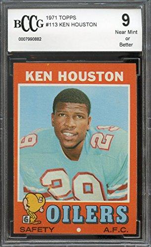 1971 topps #113 KEN HOUSTON houston oilers rookie card BGS BCCG 9 Graded Card