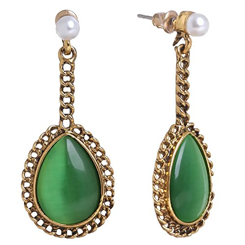 (Fashion Goldtone Niello Drop Teardrop Earrings Green Faux Stone Chain Faux Pearl Victorian Jewelry (Green))