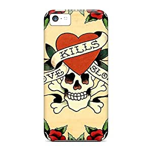 Durable Protector Case Cover With Ed Hardy Hot Design For Iphone 5c