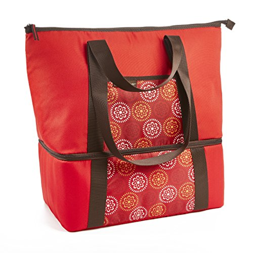 Rachael Ray Double Decker Chillout Tote, Insulated Dual Compartment Tote Bag, Red Medallion