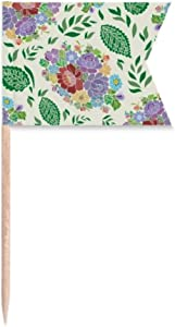 Chinese Japanese Style Flowers Leaves Pattern Toothpick Flags Labeling Marking for Party Cake Food Cheeseplate