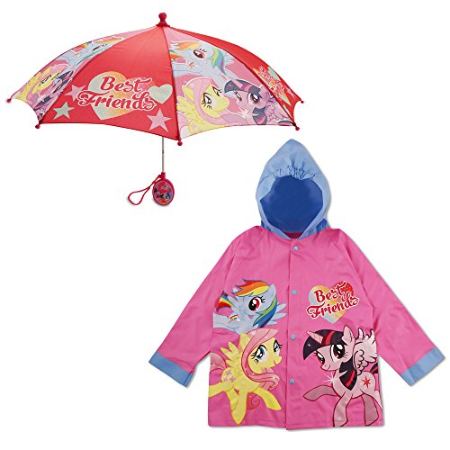 Hasbro Little Girls My Little Pony Best Friends Slicker and Umbrella Rainwear Set, Pink, Age 6-7